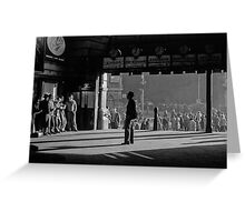 Clockwatcher Flinders Street Station B & W 1958 Greeting Card