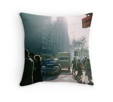 Cnr Collins & Elizabeth Streets at end of shopping day 1957 Throw Pillow