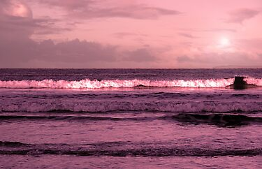 ballybunion beach purple winter storm waves by morrbyte