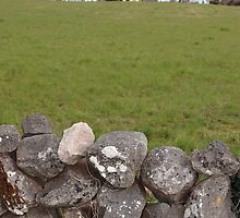ballyvaughan old stone wall and church by morrbyte