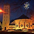 Morristown Church at Christmas, twilight by Jane Neill-Hancock