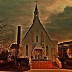 St Joseph's Church, Mendham NJ in sunset golden glow; carpenter Gothic built 1853 by Jane Neill-Hancock