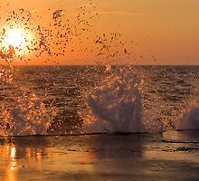 Wave Crashes Into Sunset by Davinchi
