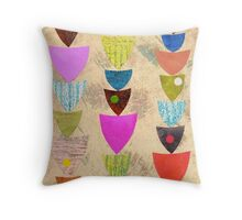 cream repeat pattern collage mid century Throw Pillow