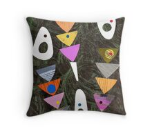 Retro atomic triangles abstract collage art Throw Pillow