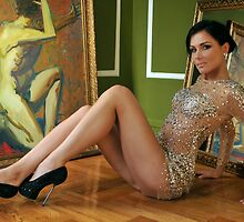 Pretty woman in vintage gown sitting on the floor by Anton Oparin