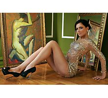 Pretty woman in vintage gown sitting on the floor Photographic Print