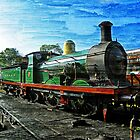 Green Steam Train by hootonles