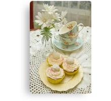 Three Vanilla Cupcakes Canvas Print