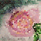 Stained glass look for Rose painting, watercolor by Anna  Lewis