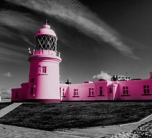 Pendeen Lighthouse in Pink by Rob Hawkins