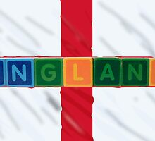 england and flag in toy block letters by morrbyte