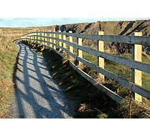 graphic cliff edge fence shadows Photographic Print