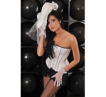 Portrait of sexy topless young lady in V shape corset and black lingerie Photographic Print