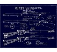 303  Lee Enfield Rifle Blueprint (Dark blue) Photographic Print
