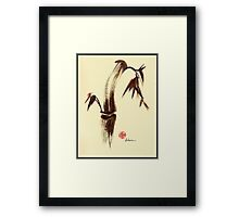 Here and Now - Zen dry brush painting of peace and joy Framed Print
