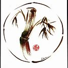 &quot;eternity&quot; :  Enso sumi-e dry brush acrylic painting   by Rebecca Rees