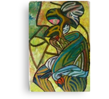 A woman drinking her finger Canvas Print