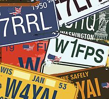 Old American Car Licence Plates iPad Case /  iPhone 5 Case / iPhone 4 Case  / Samsung Galaxy Cases / Pillow / Tote Bag  by CroDesign