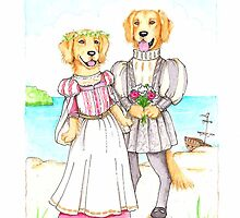 Shakespeare's Miranda and Ferdinand Golden Retrievers by judzart