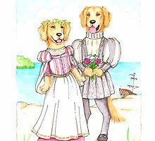 Shakespeare's Miranda and Ferdinand Golden Retrievers by judzart