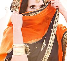 Black & Orange Saree/Sari by Rachel Slepekis