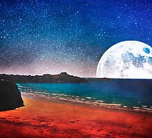 Moon over Tolcarne Beach by Denise Abé