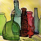 Rainbow bottles by Lynda Earley