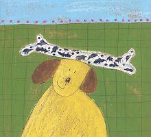 Yellow Dog with bone by Tine  Wiggens
