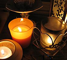 CandleLight is Best,  candles on my mantel by Jane Neill-Hancock