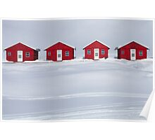 Four Red Cabins in Winter Poster