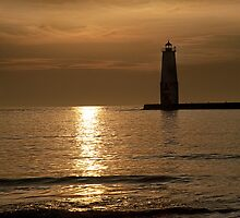 Sunset at the Frankfort Lighthouse in Michigan by Randall Nyhof