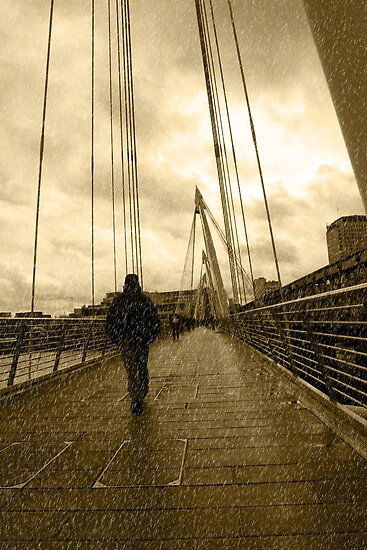 raining on london city bridge by morrbyte
