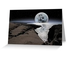shimmering moon and boulders in rocky burren landscape Greeting Card