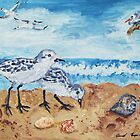 Sanderlings Snacking on the Beach by Jennifer Ingram