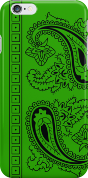 Light Green and Black Paisley Bandana  by ShowYourPRIDE