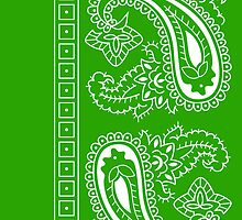 Light Green and White Paisley Bandana  by ShowYourPRIDE