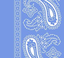 Light Blue and White Paisley Bandana  by ShowYourPRIDE