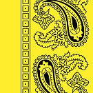 Yellow and Black Paisley Bandana   by ShowYourPRIDE