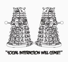 """SOCIAL INTERACTION WILL CEASE!"" (black print) by Corneilius"