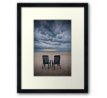 Sunrise on the Beach with Two Chairs at Oscoda Michigan Framed Print