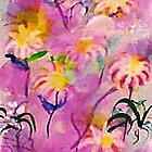 Daiseys with pink/lavender  backround, watercolor by Anna  Lewis