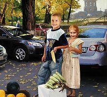 Moldovan children earn money for school. Street vendors of corn. by Victor Arseni