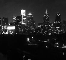 Philadelphia Skyline Panorama - Photo B&W by John Brady