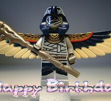 Happy Birthday Greeting Card, with LEGO® Pharaoh's Quest Flying Mummy Minifig (with Custom Staff) by Customize My Minifig by Chillee
