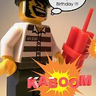 Have a Blast on Your Birthday Greeting Card, Convict Prisoner LEGO® City Minifigure with Dynamite Sticks, by 'Customize My Minifig' by Chillee