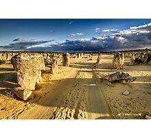 Driving through the Pinnacles Desert Photographic Print