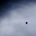 Blue balloon on grey sky by SRLongstroth