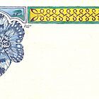 Blue Butterfly & Knotwork Border Pen & Ink Drawing by Johanus Haidner