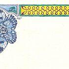 Blue Butterfly & Knotwork Border Pen & Ink Drawing by Johanus Haidner